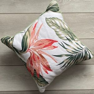 Threshold Tropical Floral Square Pillow Coral